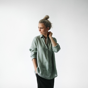 Linen shirt light green