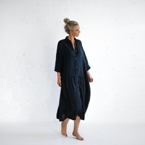 Oversized linen dress navy
