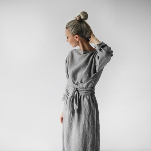 Linen dress with belt light grey