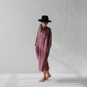 Linen shirt dress mauve