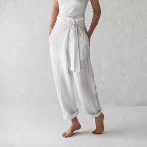 Wrap trousers white