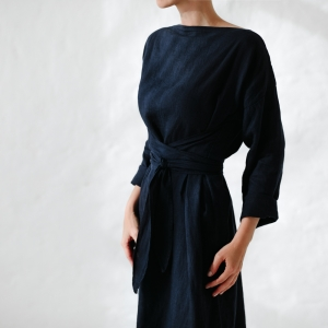 Linen dress with belt navy