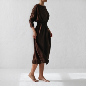 Linen dress brown