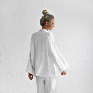 Linen pajama set white