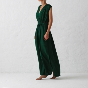 Linen column dress green