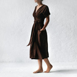 Linen kimono dress brown