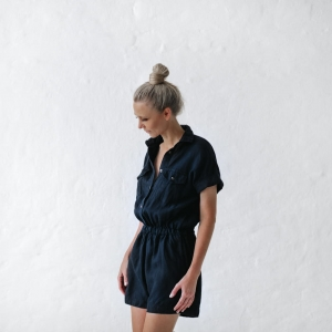 Linen jumpsuit navy