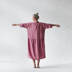 Oversized linen dress blossom pink