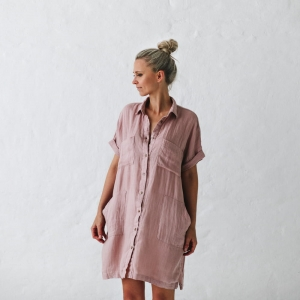 Linen tunic dusty pink