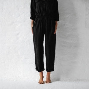 Linen jumpsuit black