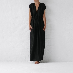 Linen column dress black