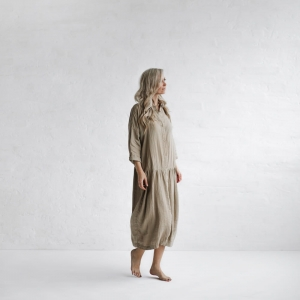 Linen oversized dress beige