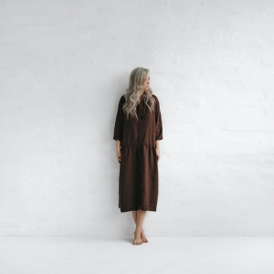 Linen oversize dress brown