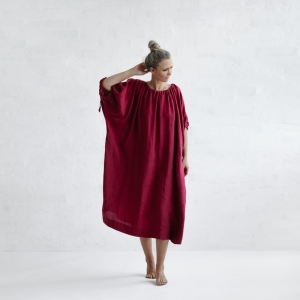 Linen loose dress raspberry