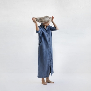 Linen dress denim blue