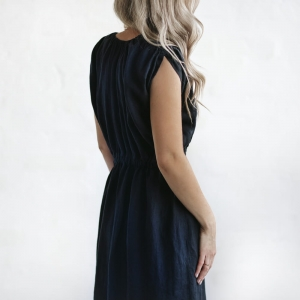 Linen column dress navy