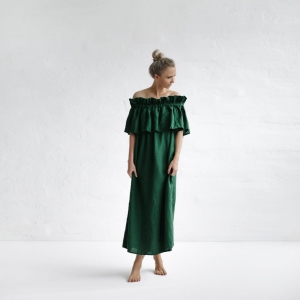 Linen off shoulder dress green