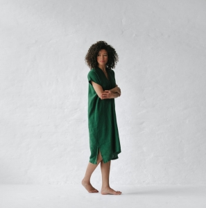 Linen dress V neck green