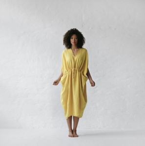 Linen dress with pockets yellow