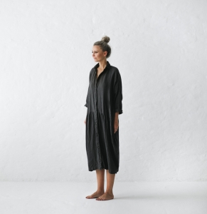 Oversized linen dress dark grey