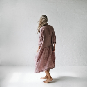 Oversized linen dress dusty pink