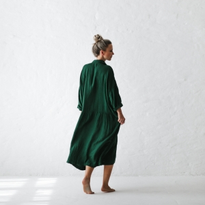 Oversized linen dress green