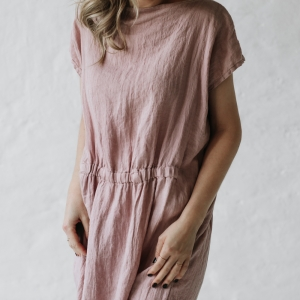 Linen maxi dress dusty pink