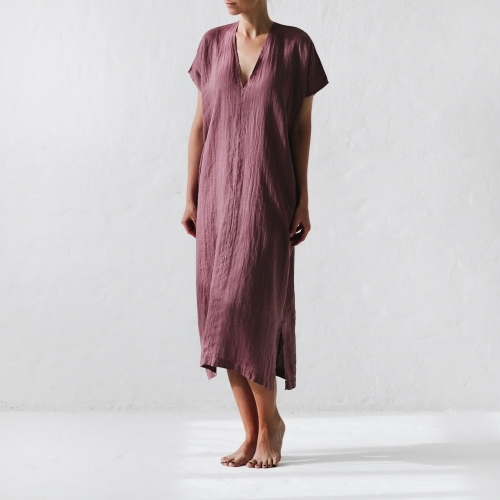 Linen dress V-neck mauve