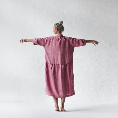 ec5771acb7 Lniana sukienka oversize różowa blossom pink
