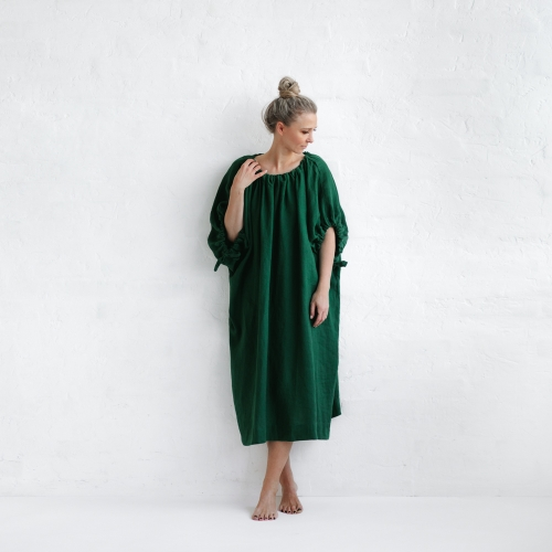 Linen loose dress green