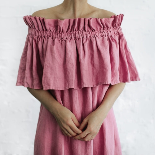 Linen off shoulders dress pink