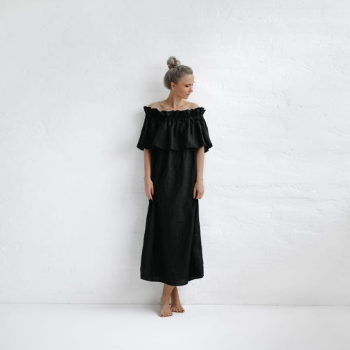 Linen off shoulder dress black