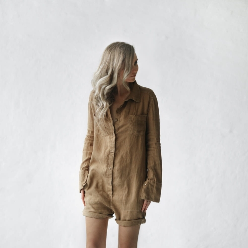 Linen boilersuit beige