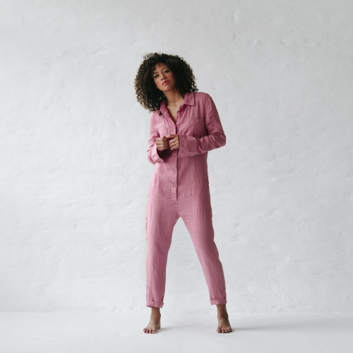 Linen boilersuit blossom pink