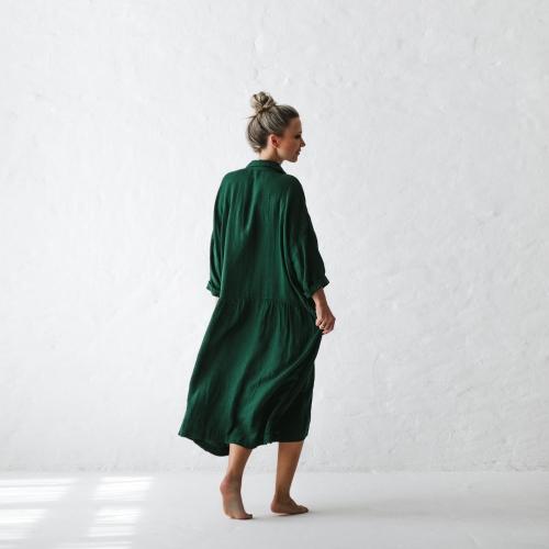 42fb344073 Oversized linen dress green