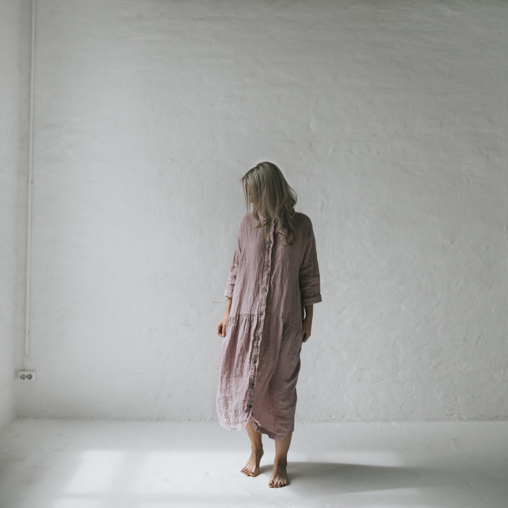 64110d63c6 ... Lniana sukienka oversize różowa SST-023 ...