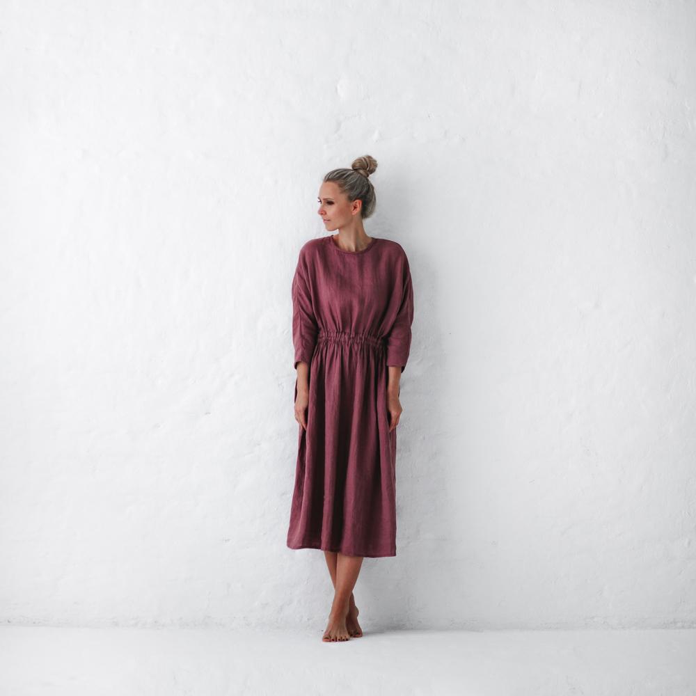 f2369603363 Linen dress mauve