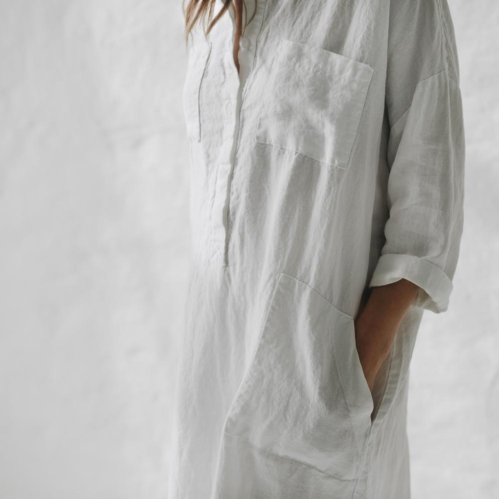 Linen shirt dress white