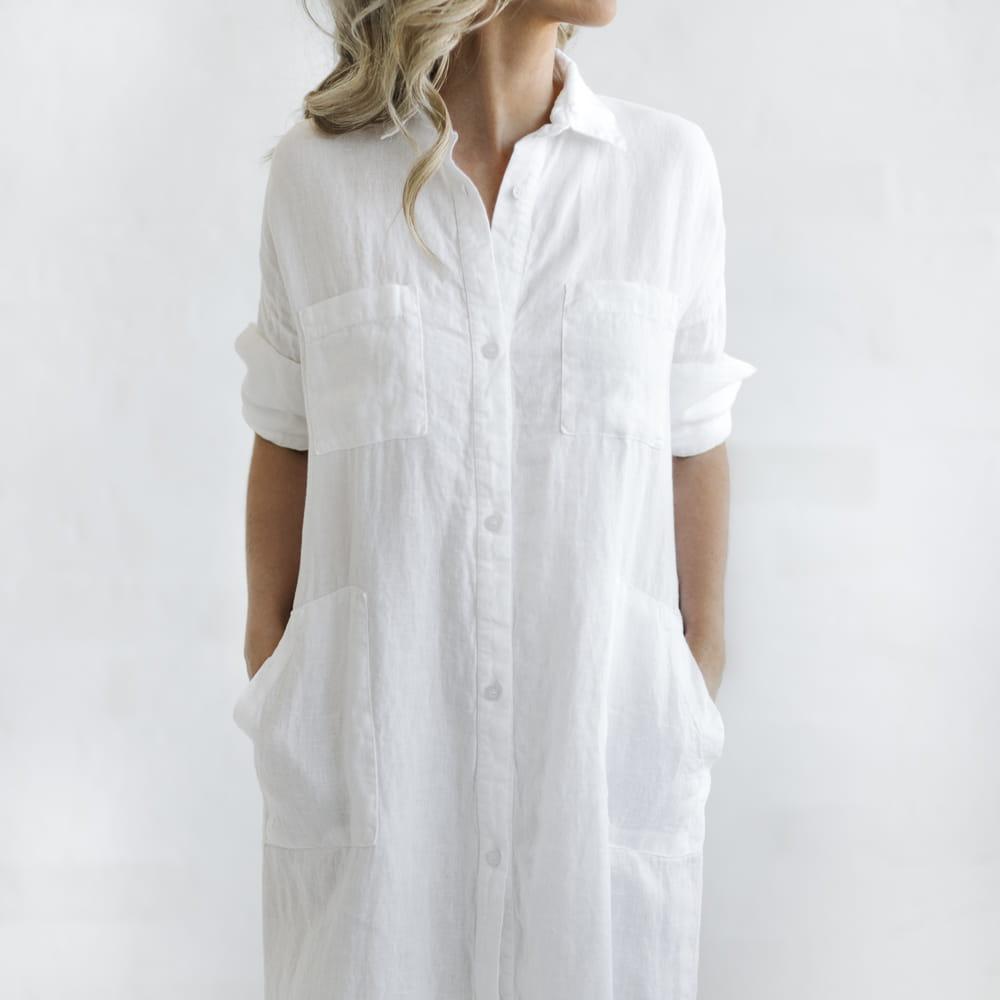 long white linen shirt dress